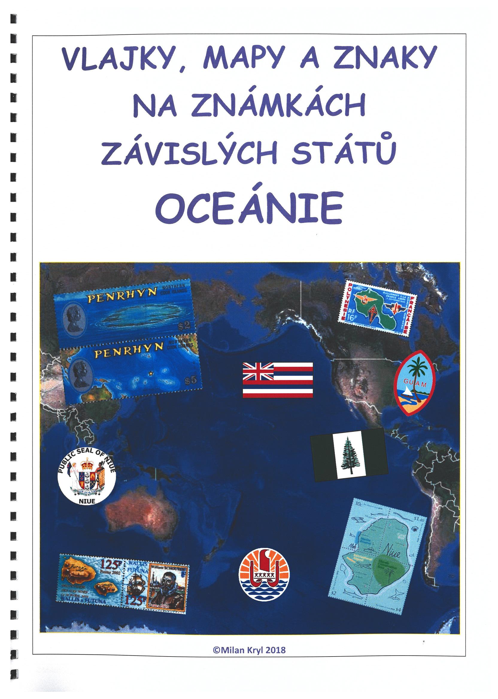 Oceánie - vlajky, mapy a znaky na zn. závislých států Evropy